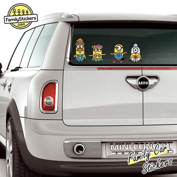 ファミリー カー ステッカー ミニオンズ セーフティサイン チャイルドイン 車窓 デカール シール スマホ MINION