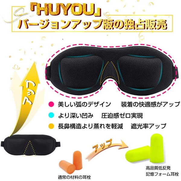 HUYOU ふよう 立体型 アイマスク 収納袋付 ブラック|parcel|02