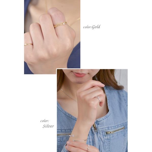 リング 指輪 ピンキーリング 2連風 キュービック ジルコニア シンプル 重ねづけ ゴールド シルバー ピンクゴールド 可愛い|pariskids-net|11