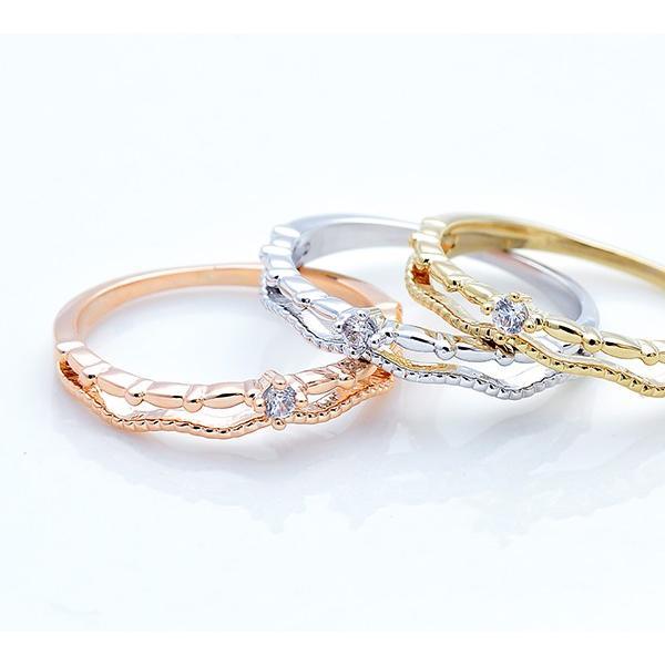 リング 指輪 ピンキーリング 2連風 キュービック ジルコニア シンプル 重ねづけ ゴールド シルバー ピンクゴールド 可愛い|pariskids-net|12