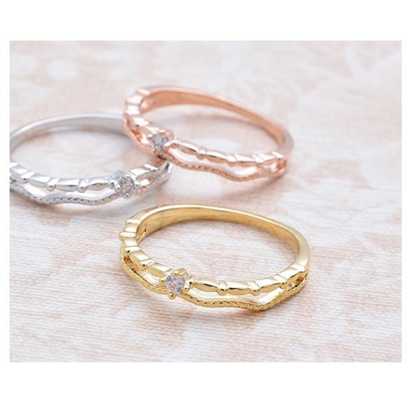 リング 指輪 ピンキーリング 2連風 キュービック ジルコニア シンプル 重ねづけ ゴールド シルバー ピンクゴールド 可愛い|pariskids-net|03