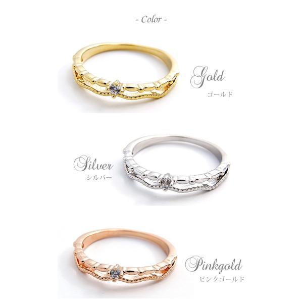 リング 指輪 ピンキーリング 2連風 キュービック ジルコニア シンプル 重ねづけ ゴールド シルバー ピンクゴールド 可愛い|pariskids-net|04