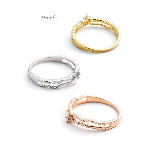 リング 指輪 ピンキーリング 2連風 キュービック ジルコニア シンプル 重ねづけ ゴールド シルバー ピンクゴールド 可愛い|pariskids-net|05