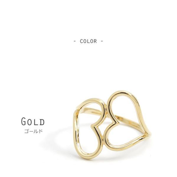 リング 指輪 ハート フレーム ツイン ダブル シンプル メタル ゴールド シルバー ピンクゴールド j3s