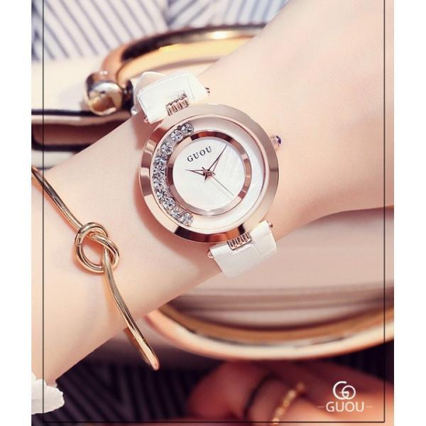 GUOU 腕時計 レディース 女性用  ウォッチ エレガント クォーツ ラインストーン ローズ ゴールド ラッピング対応 WG803