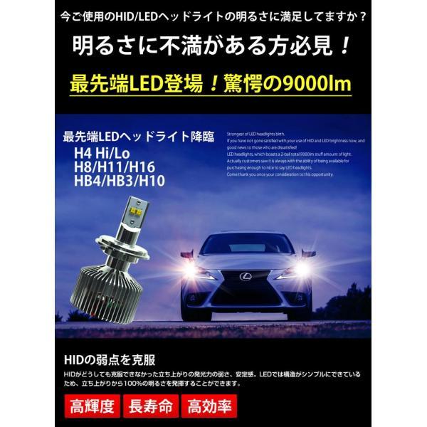 HIDより明るい LED ヘッドライト フォグランプ 9000lm H4 H8 H11 H16 HB4 HB3 送料無料 動画有り|parts-com|02