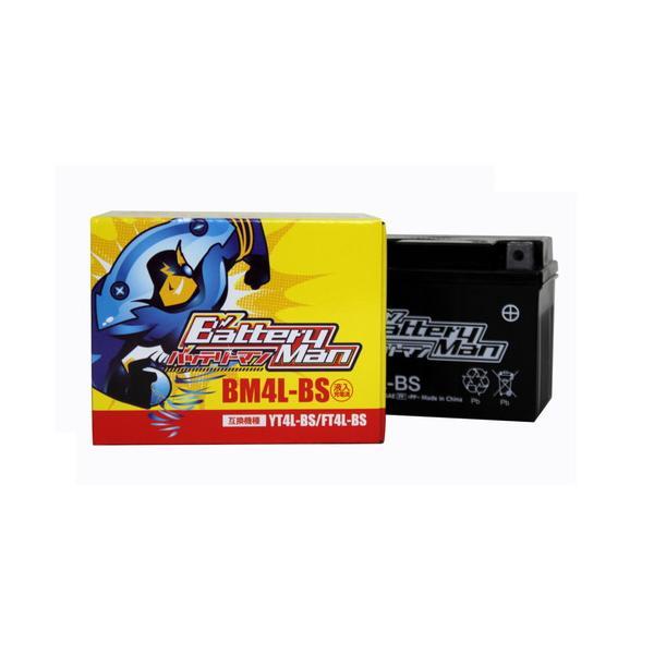 バッテリーマンBM4L-BSYT4L-BS互換 FT4L-BS互換 液入充電済バイクバッテリーすぐ使える1年保証メンテフリー