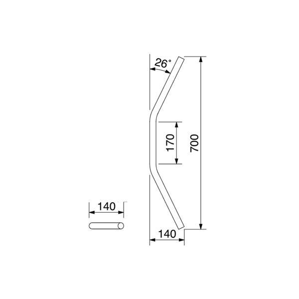 【○在庫あり→8月27日出荷】ハリケーン φ1インチ汎用 ハンドルバー:フラットII型 HB0151C-01|partsbox2|02