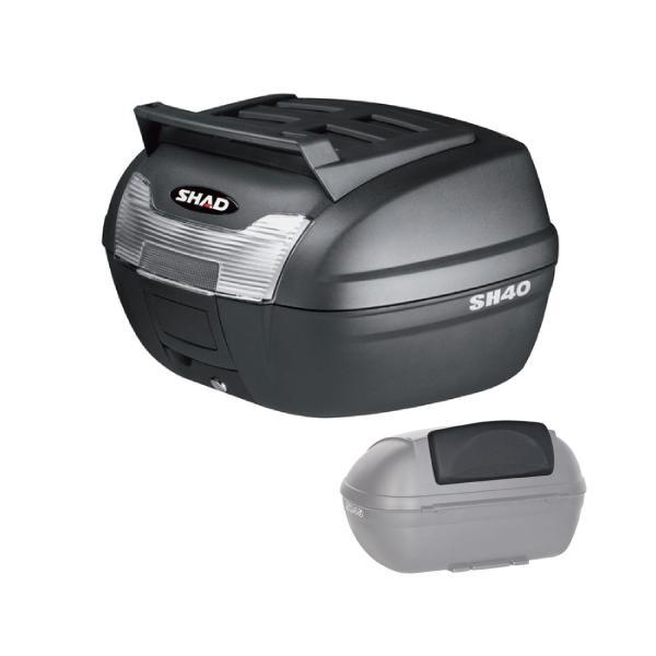 【セット売り】SH40 CARGO トップケース 無塗装ブラック バックレスト セット SHAD(シャッド) 無塗装ブラック 1セット partsdirect