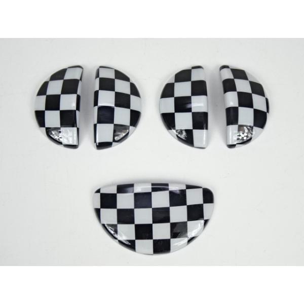 BMWミニ MINI R60 クロスオーバー チェッカーフラッグ インナードアハンドルカバー ドアノブ グローブボックス カバー