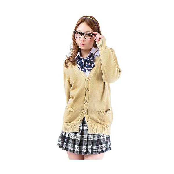 制服 スクール 「カーディガン ベージュ LL」レディース 大きいサイズ なんちゃって制服|partyparadise|02