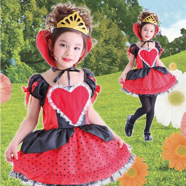 4a91259030064 ハロウィン コスプレ 衣装 仮装 コスチューム 不思議の国のアリス ハートの女王 子供用 女の子 ...