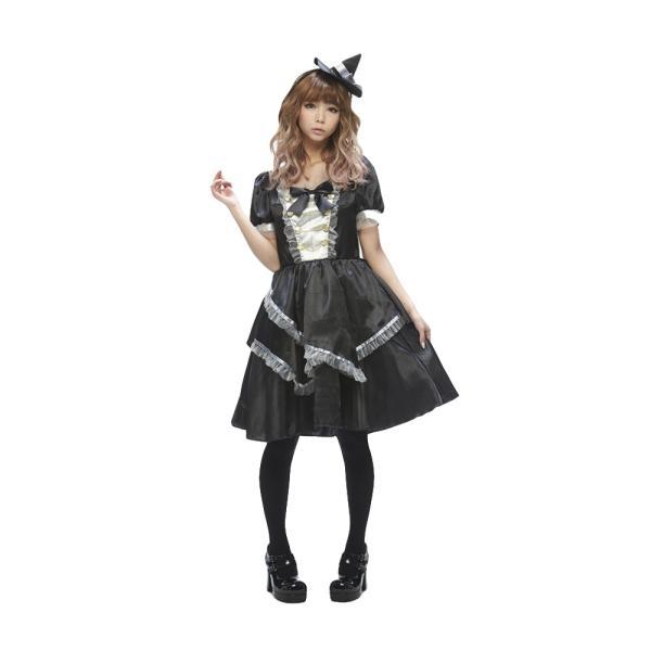 ハロウィン 魔法使い 魔女 コスプレ 「ウィッチレディ モノトーン」コスチューム 衣装|partyparadise