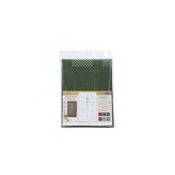 オリムパス 刺し子紬 第2弾 家紋柄 カット布 深緑 CT-D2004 割引不可