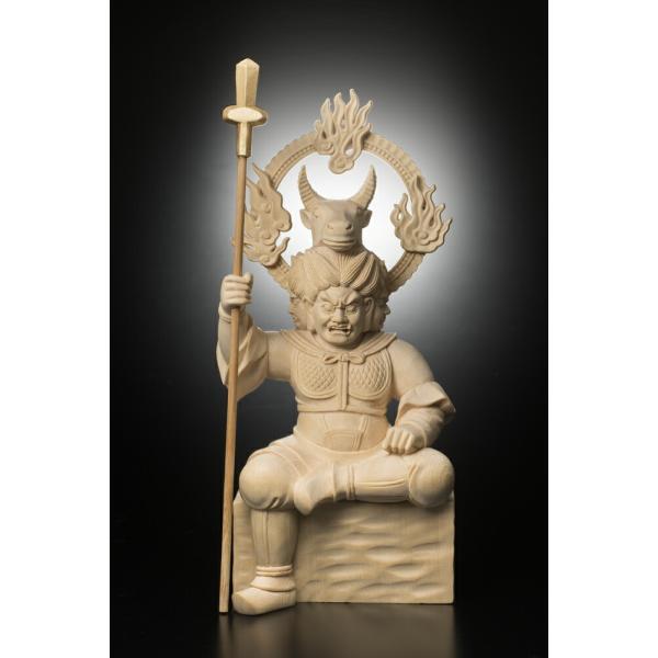 檜彫り 牛頭天王(ゴズテンノウ) 947-2 絶対に返品キャンセル不可品  仏像 御守り お神輿 家内安全 木彫りの彫刻品 天然木 彫刻作品 置物 神棚