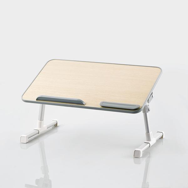 即納 折りたたみノートPCテーブル/52cm/オーク調