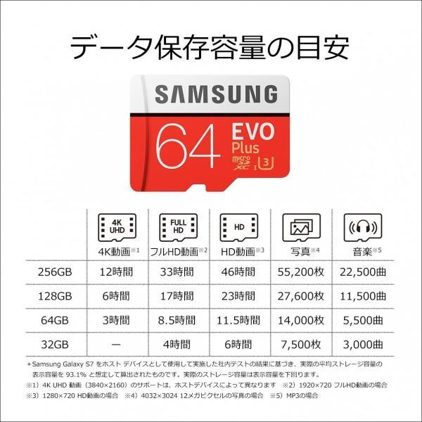 Samsung microSDXCカード 64GB EVO Plus Class10 UHS-I U3対応 (最大読出速度100MB/s:最大書込速度60MB/s) Nintendo Switch 動作確認済 MB-MC64GA/ECO 送料無料|pasokon|03