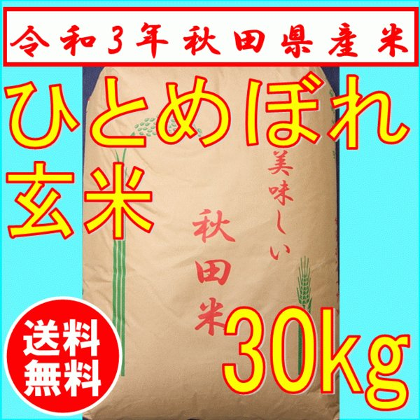 【令和2年産】ひとめぼれ30kg 玄米 秋田県産 一等米  お米 送料無料