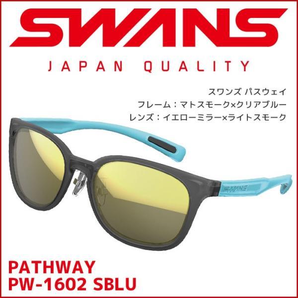 スワンズ スポーツサングラス PW-1602 SBLU Df.pathway パスウェイ レディース ミラーレンズ uvカット ケース付き 大人用 SWANS|passo