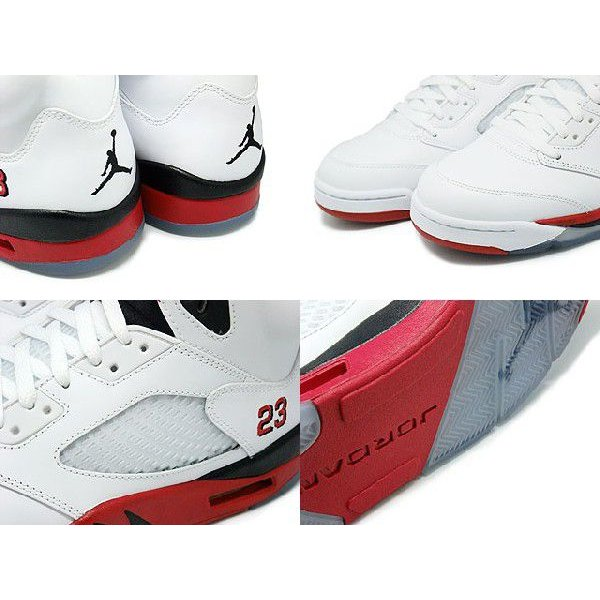 NIKE AIR JORDAN 5 RETRO FIRE RED BLACK TONGUE WHITE/FIRE RED-BLACK ナイキ エア ジョーダン 5 レトロ 白赤黒 黒ベロ 136027-120|passover|03