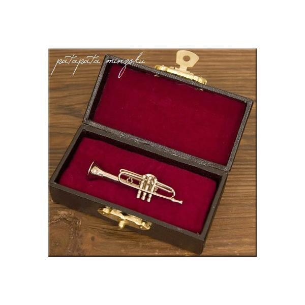 ミニチュア トランペット ピンバッジ 楽器 吹奏楽 ディスプレイ 管楽器 オブジェ
