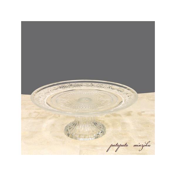 グラス コンポート L クリア ガラスプレート シャルマン ケーキスタンド オブジェ ディスプレイ アンティーク調 店舗什器|patapataminzoku