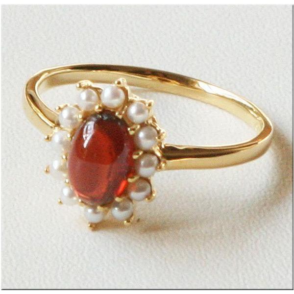 ガーネットとパール の リング 碌山 ROKUZAN 1月の誕生石 ガーネット パール 真珠 指輪 patapataminzoku