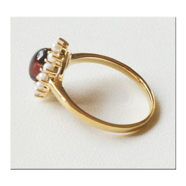 ガーネットとパール の リング 碌山 ROKUZAN 1月の誕生石 ガーネット パール 真珠 指輪 patapataminzoku 02