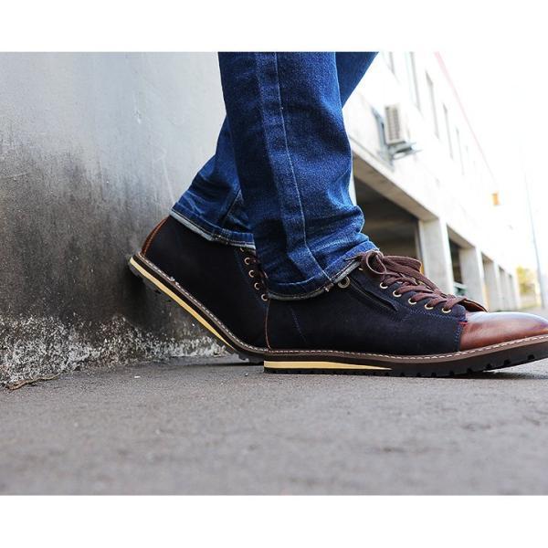 【A-冬靴】【予約販売】ミドルカット ブーツ PUレザー × PUスウェード 配色 切り替え サイドジップ ネイビー 40代 50代|paty|09