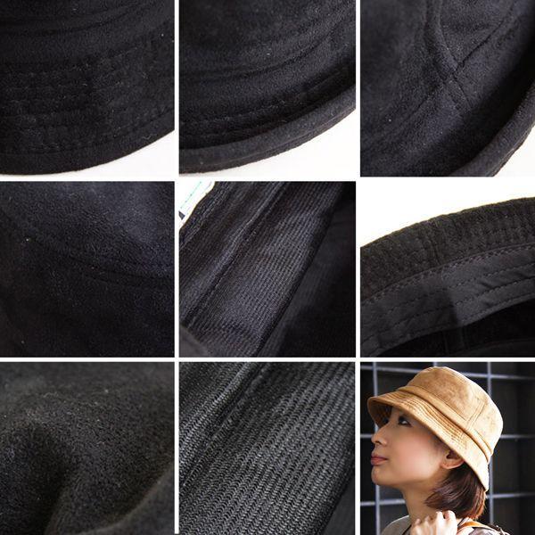 起毛 フェイクスウェード生地 内側 滑り止めテープ付 男女兼用 ポークパイ ハット(3色)|paty|04