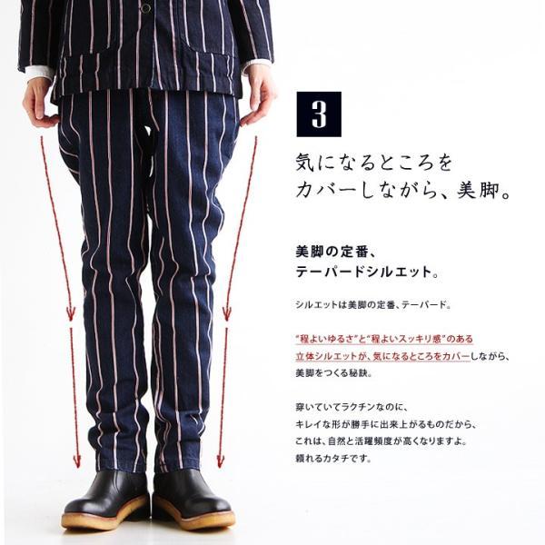 (ブルート) BLUETO 日本製 トラウザー デニム パンツ テーパードシルエット セルビッチ風 ストライプ柄  レディース ジーンズ 40代 50代|paty|06