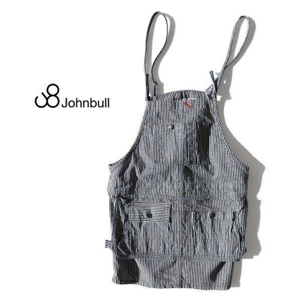 (ジョンブル) Johnbull デニム ミニ サロペット スカート ヒッコリーストライプ  エプロン風 8ポケット 日本製 春 夏  レディース|paty|02
