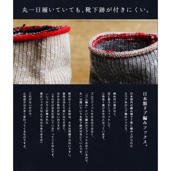 ソックス 靴下リブ編み  配色 ベージュ ブルー グレー メンズ レディース 日本製 (スモールストーンソックス) SMALL STONE SOCKS 40代 50代|paty|04
