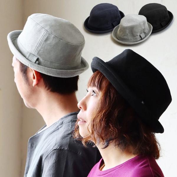 ポークパイハット ソフト コットンスウェット素材 メンズ レディース ネイビー ブラック グレー ハット 黒  ポークパイ 帽子