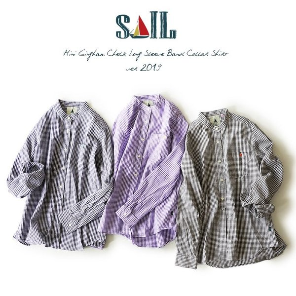 シャツ 日本製 長袖  バンドカラー ギンガムチェック柄 フェイク プルオーバー  ギンガムチェックシャツ paty 02