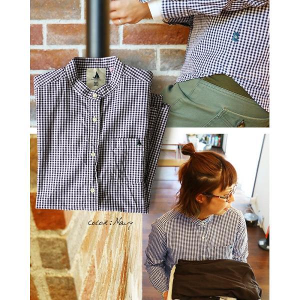 シャツ 日本製 長袖  バンドカラー ギンガムチェック柄 フェイク プルオーバー  ギンガムチェックシャツ paty 03