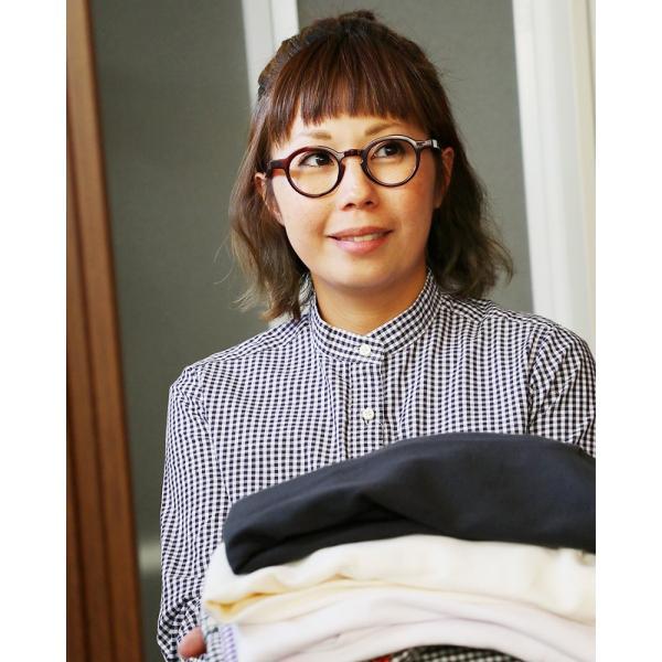 シャツ 日本製 長袖  バンドカラー ギンガムチェック柄 フェイク プルオーバー  ギンガムチェックシャツ paty 04