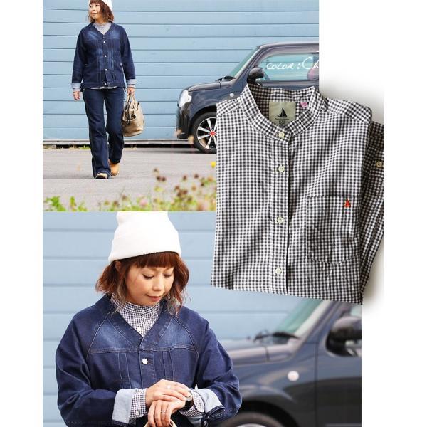 シャツ 日本製 長袖  バンドカラー ギンガムチェック柄 フェイク プルオーバー  ギンガムチェックシャツ paty 06