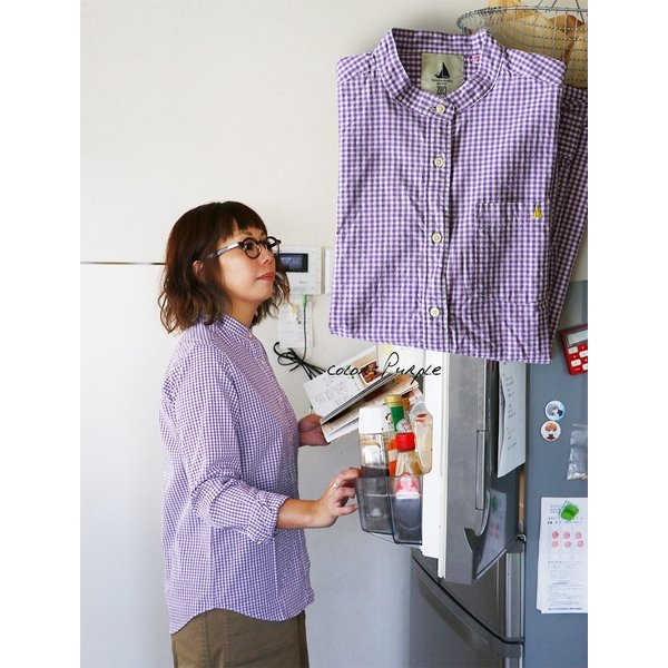 シャツ 日本製 長袖  バンドカラー ギンガムチェック柄 フェイク プルオーバー  ギンガムチェックシャツ paty 09