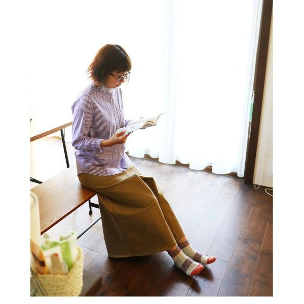 シャツ 日本製 長袖  バンドカラー ギンガムチェック柄 フェイク プルオーバー  ギンガムチェックシャツ paty 10