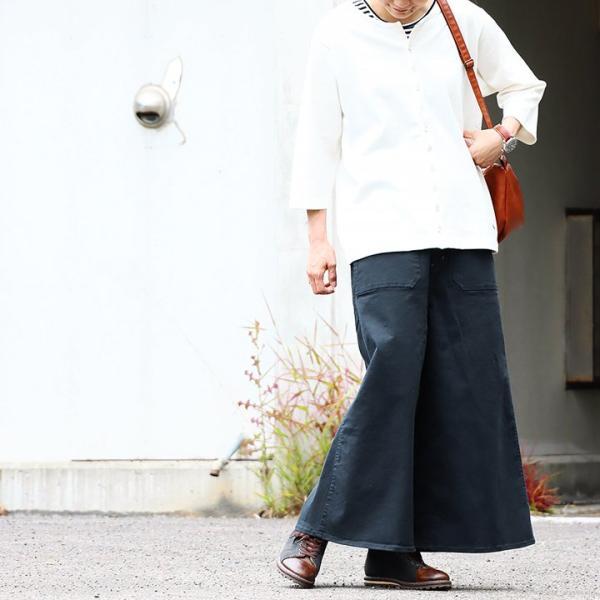 ガウチョパンツ スカーチョ ワイドパンツ マキシスカート風 ウエストゴム ストレッチ入り 大きいサイズ|paty|07