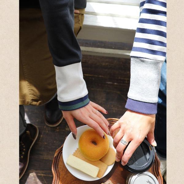 長袖 カットソー 「袖口 袖裏 刺繍 ボーダー 切り替え 袖切り替え」 スラブ天竺 薄手 綿100% 春 40代 50代|paty|10