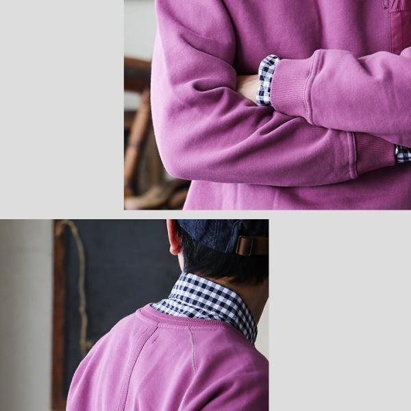 【予約販売】トレーナー スウェット 長袖 ラグラン USAコットン ピグメント加工 顔料染め ヘリンボーンリブ (オールズ) OAR'S 40代 50代|paty|09