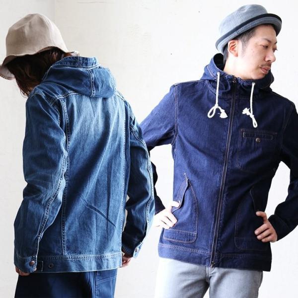 長袖 デニム ワーク ハイネック ジップ パーカー 綿100% カジュアル メンズ レディース ブルー インディゴ 青 ネイビー 春アウター 羽織り