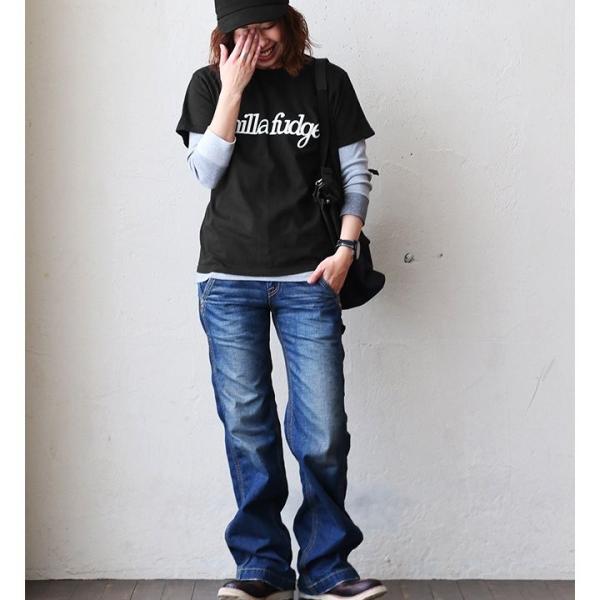 Tシャツ 半袖 クルーネック レディース ロゴプリント ボックスシルエット ユースサイズ Tee ヨレにくい  半袖シャツ  Vanilla fudge 夏 おしゃれ|paty|03