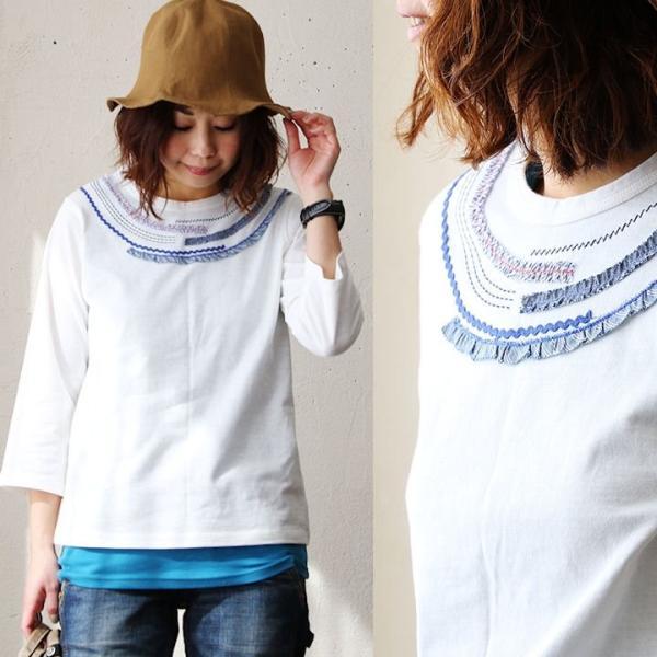 Tシャツ TEE プルオーバー 7分袖 リメイク風 セミフレア テープ レース 刺繍 クルーネック レディース 女性用 春 春物