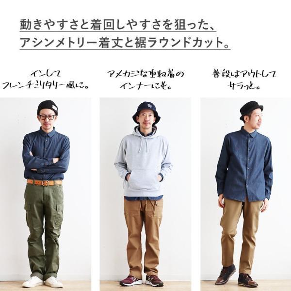 シャツ 長袖 バンドカラー デニムシャツ ユーズド加工 配色 刺繍 綿100% (アリステア) ALISTAIR 40代 50代|paty|13