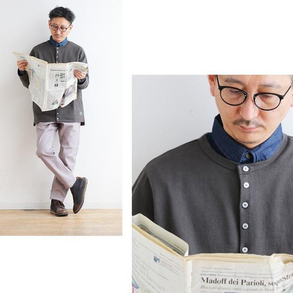 シャツ 長袖 バンドカラー デニムシャツ ユーズド加工 配色 刺繍 綿100% (アリステア) ALISTAIR 40代 50代|paty|09