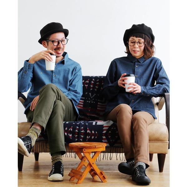 シャツ 長袖 バンドカラー デニムシャツ ユーズド加工 配色 刺繍 綿100% (アリステア) ALISTAIR 40代 50代|paty|10