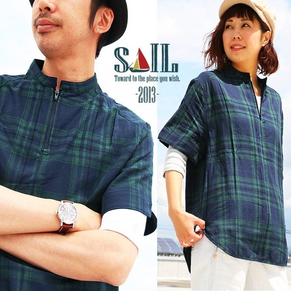 シャツ プルオーバー 半袖 ネック ハーフジップ付き コットン100% 綿100% ブラックウォッチ (セイル) SAIL  レディース メンズ|paty